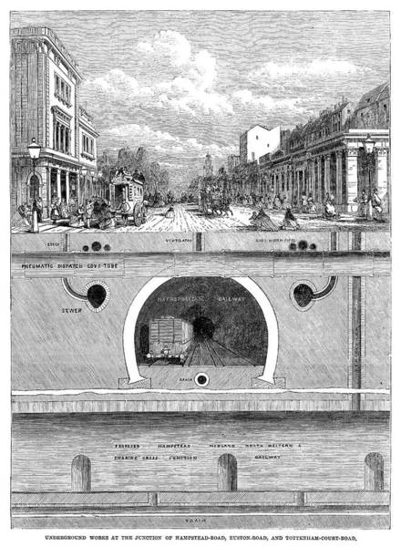 Sewer Painting - Underground Railway, 1864 by Granger