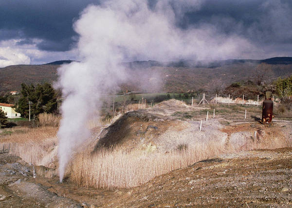 Geothermal Photograph - Underground Steam Escaping Into A Field by Klaus Guldbrandsen/science Photo Library