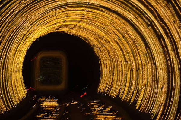 Wall Art - Photograph - Underground Tunnel Lights by Keren Su