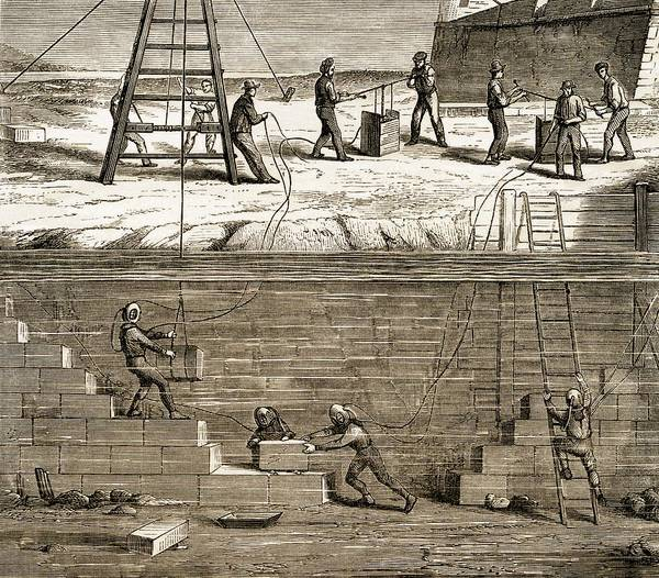 Diving Bell Photograph - Underwater Construction C.1850 by Sheila Terry
