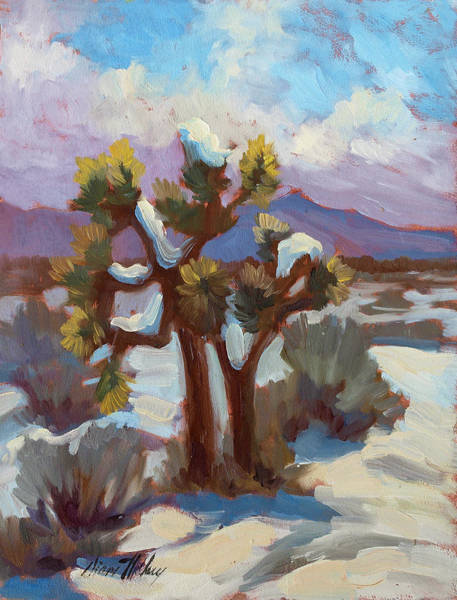Desert Scene Painting - Unexpected Snowfall At Joshua Tree by Diane McClary