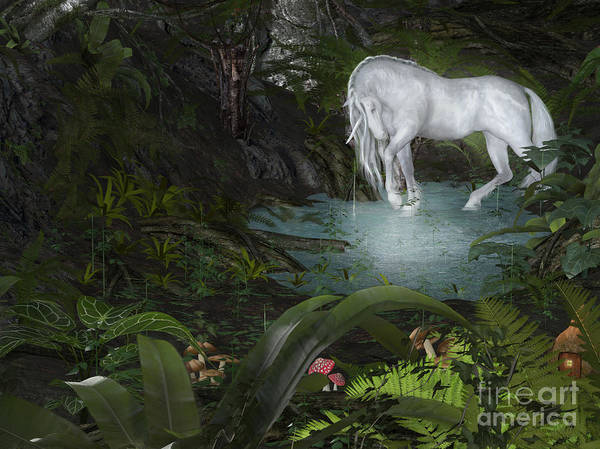 Digital Art - Unicorn Forest by Elle Arden Walby