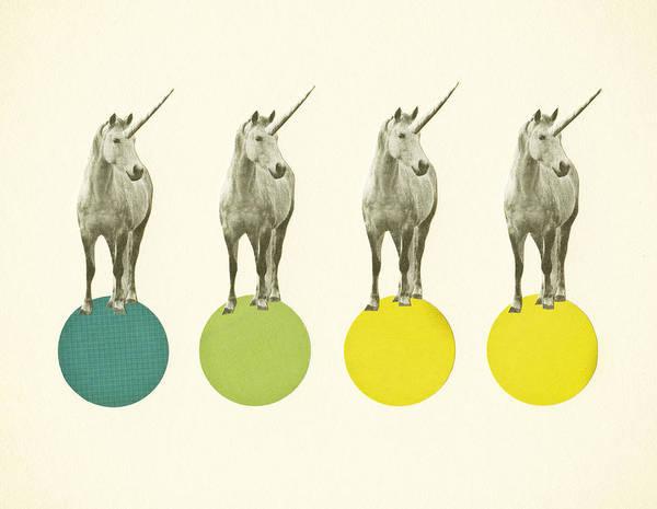 Baby Room Wall Art - Mixed Media - Unicorn Parade by Cassia Beck