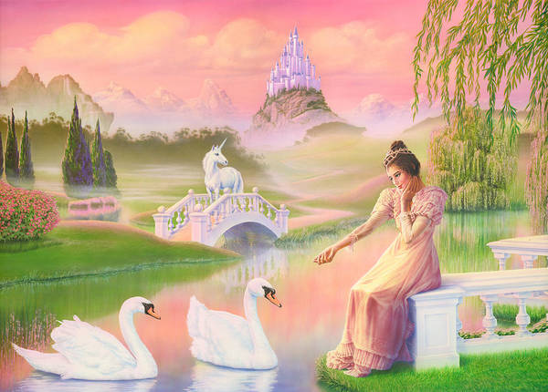 Andrew Farley Photograph - Unicorn Princess Swans On Lake by MGL Meiklejohn Graphics Licensing