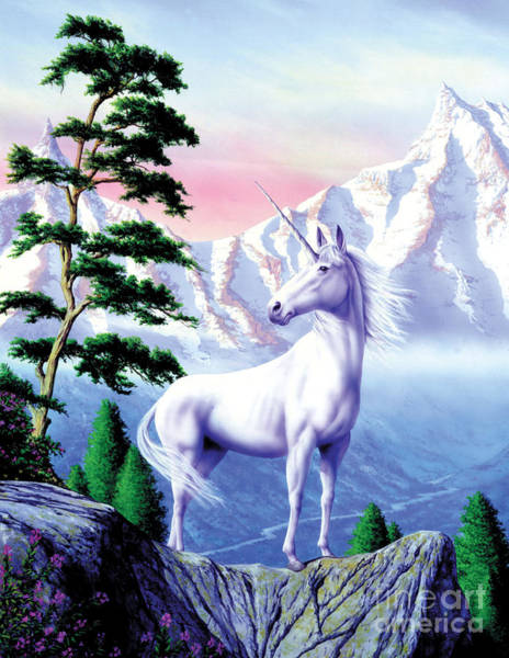 Standing Digital Art - Unicorn The Land That Time Forgot by MGL Meiklejohn Graphics Licensing