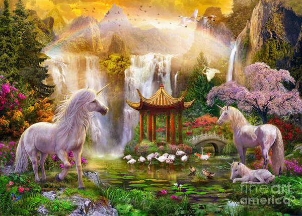 Magical Digital Art - Unicorn Valley Of The Waterfalls by MGL Meiklejohn Graphics Licensing