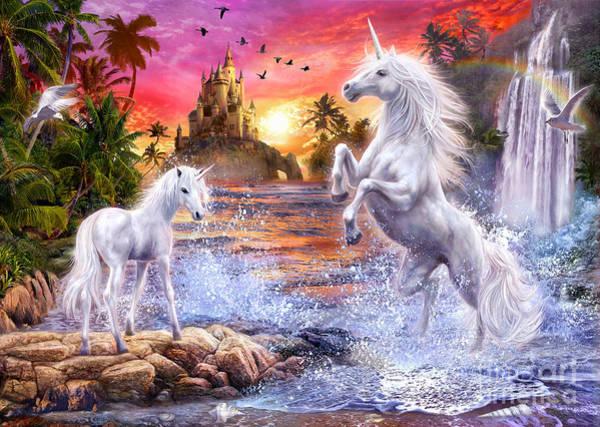 Mystery Digital Art - Unicorn Waterfall Sunset by MGL Meiklejohn Graphics Licensing
