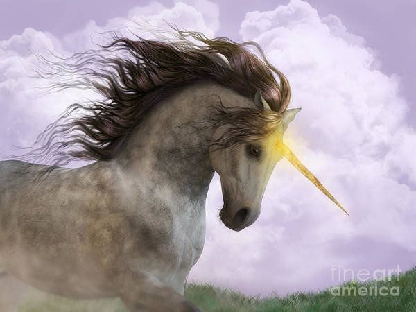 Digital Art - Unicorn With Magic Horn by Elle Arden Walby