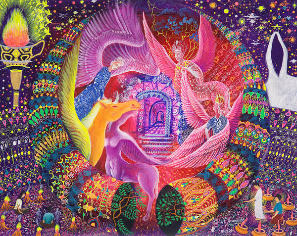 Art Print featuring the painting Unicornio Dorado by Pablo Amaringo