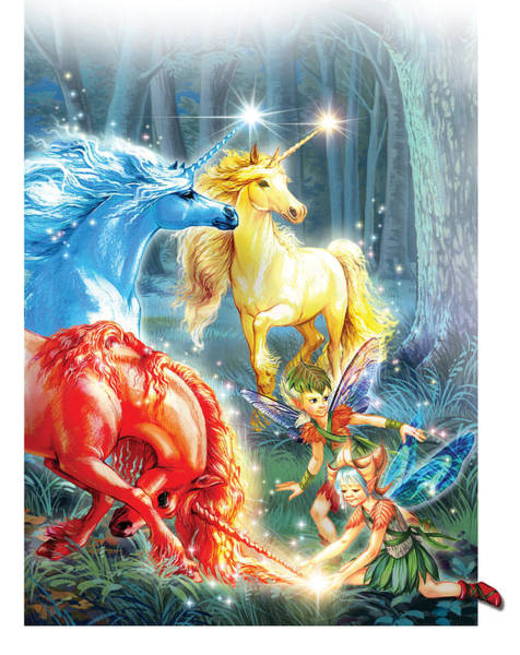 Coloured Photograph - Unicorns And Fairies by MGL Meiklejohn Graphics Licensing
