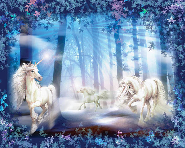 Mythical Photograph - Unicorns by MGL Meiklejohn Graphics Licensing