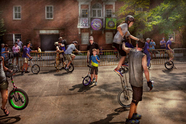 Photograph - Unicyclist - Unicycle Training Camp by Mike Savad