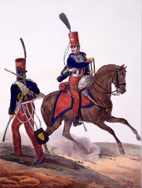 Soldier Drawing - Uniforms Of The 5th Hussars Regiment by Charles Aubry