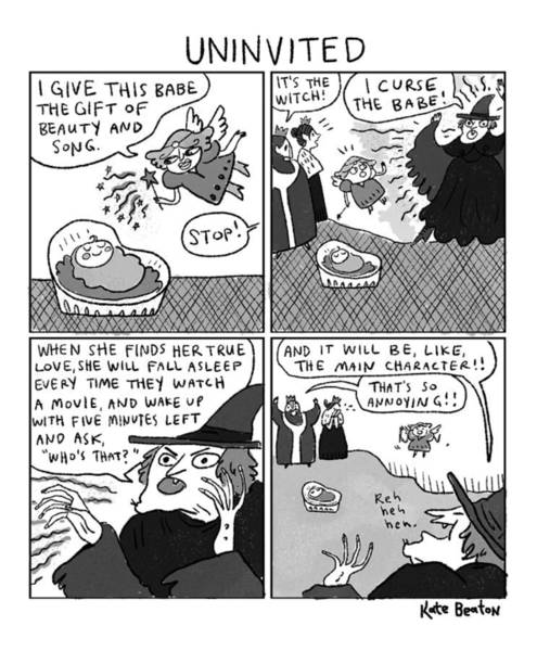 Beauty Drawing - Uninvited -- A 4-panel Cartoon Of A Sleeping by Kate Beaton