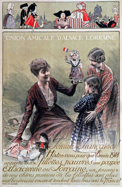 Care Drawing - Union Amicale Dalsace Lorraine, 1918 by Henri Royer