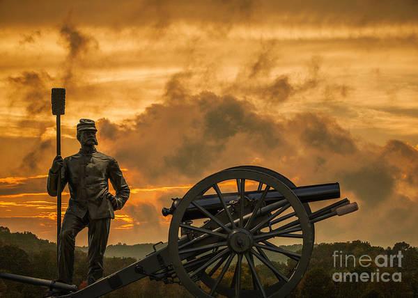 Artillery Digital Art - Union Cannon And Artilleryman by Randy Steele