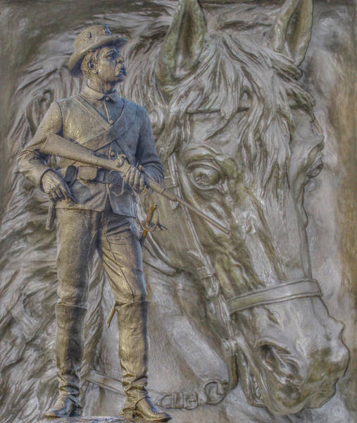 Cemetery Ridge Photograph - Union Cavalry Trooper And Horse Gettysburg by Randy Steele