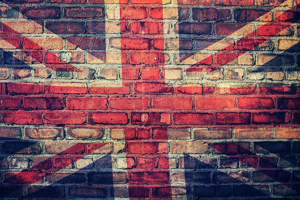 Brick Wall Photograph - Union Jack Flag On  Brick Wall by Sally Anscombe