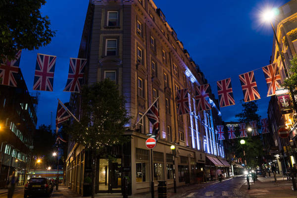 Bluehour Photograph - Union Jacks - Flags At Seven Dials Covent Garden London by Georgia Mizuleva