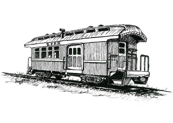Trains Drawing - Union Pacific Combine Car by Sam Sidders