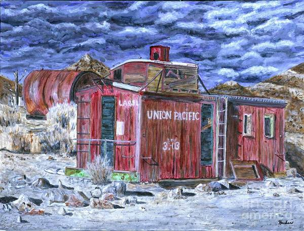 Red Caboose Painting - Union Pacific Train Car Painting by Timothy Hacker