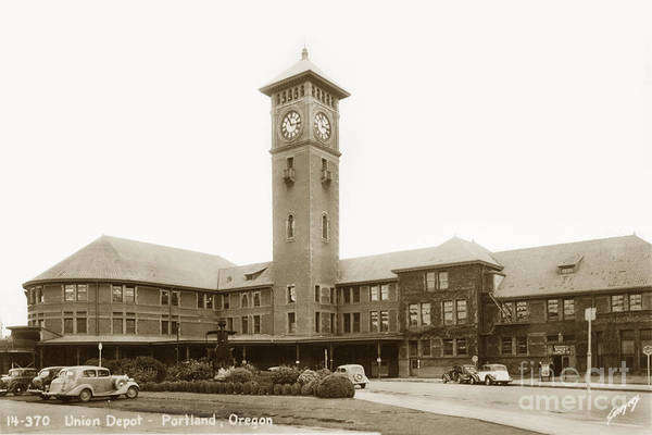 Photograph - Union Station Portland Oregon Circa 1948 by California Views Archives Mr Pat Hathaway Archives