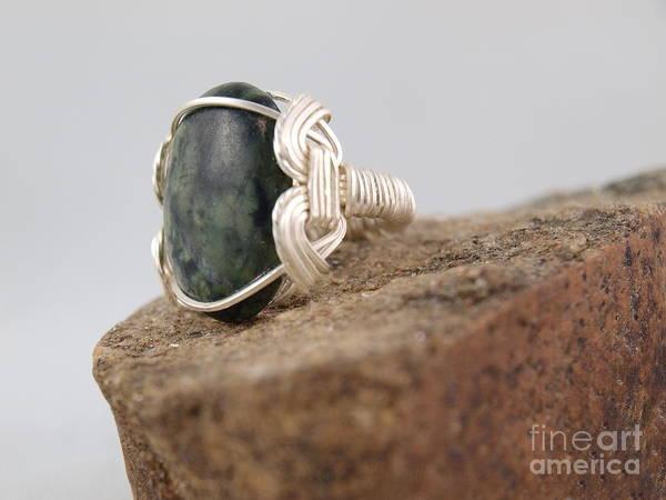 Photograph - Unisex - Green Jasper Ring by Vivian Martin