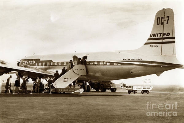 Photograph - United Air Lines Dc7 N6312c Circa 1955 by California Views Archives Mr Pat Hathaway Archives