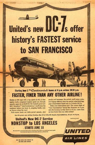 Photograph - United Dc-7 Contiental Service by John King