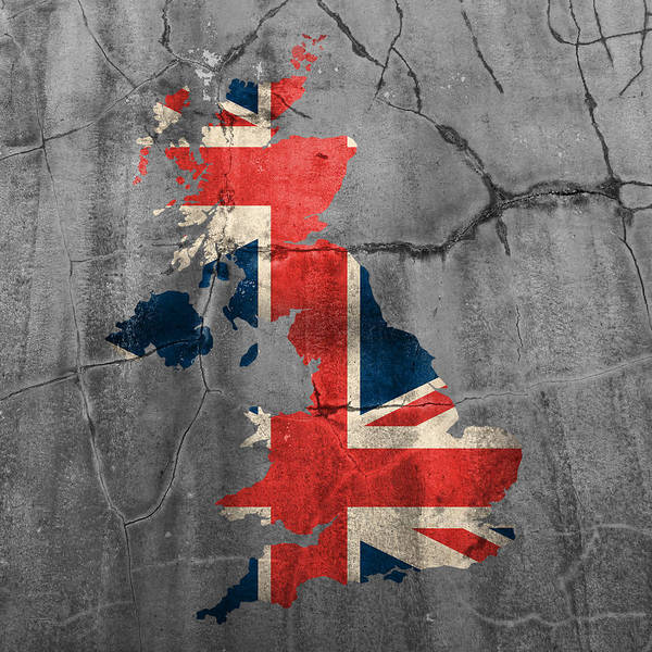 Ireland Mixed Media - United Kingdom Uk Union Jack Flag Country Outline Painted On Old Cracked Cement by Design Turnpike