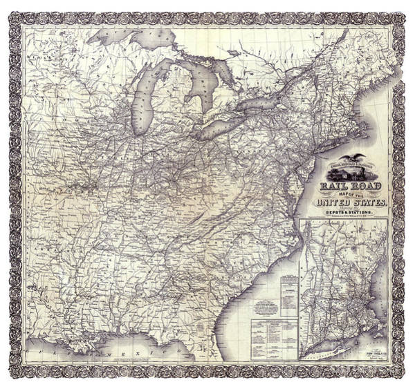 Vintage Railroad Painting - United States - Rail Road Map - 1856 by Pablo Romero