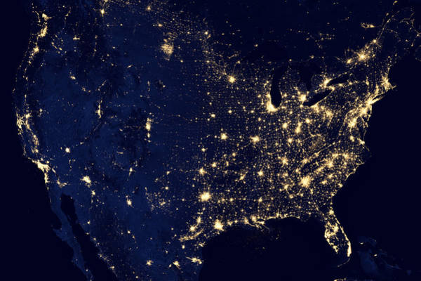 Photograph - United States At Night by Nasa