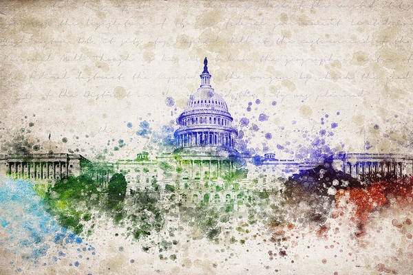 Front Digital Art - United States Capitol by Aged Pixel