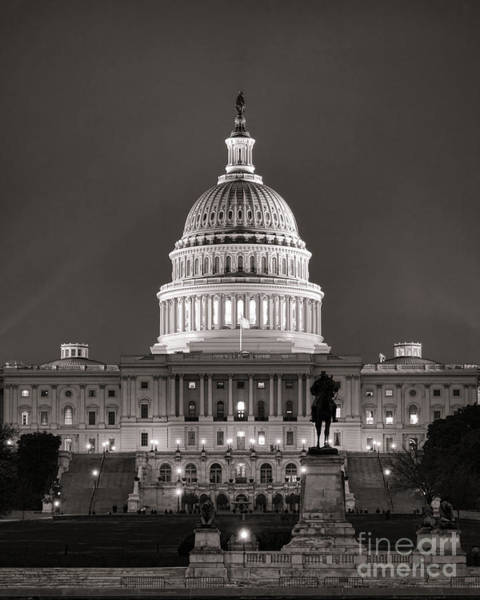 Us Capitol Photograph - United States Capitol At Night by Olivier Le Queinec