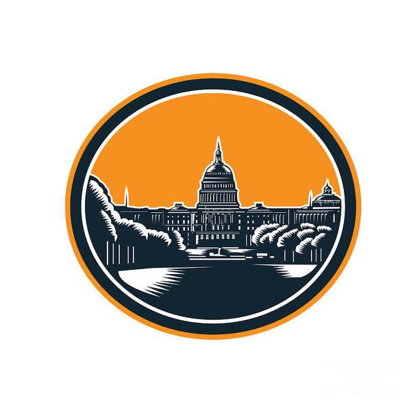 Capitol Digital Art - United States Capitol Building Woodcut Retro by Aloysius Patrimonio
