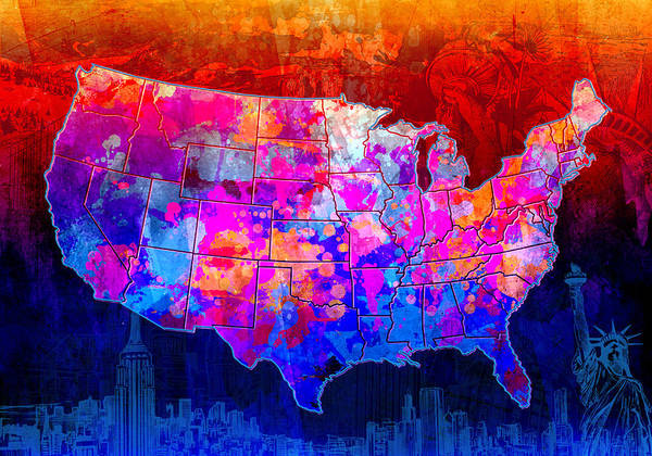 Wall Art - Painting - United States Colorful Map Collage by Bekim M
