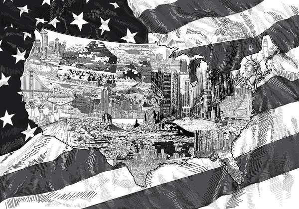 New York Map Digital Art - United States Drawing Collage Map 5 by Bekim M