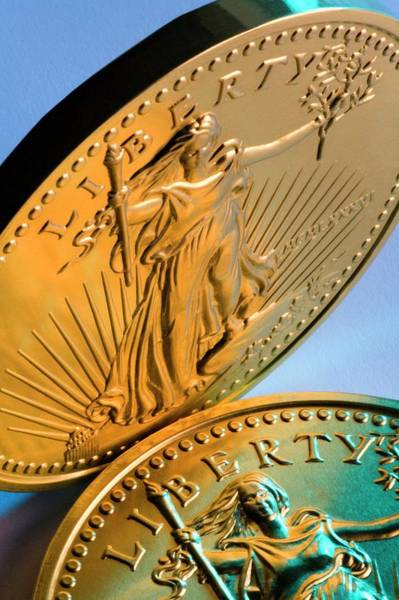 Economics Photograph - United States Fifty Dollar Gold Coins by Steve Allen/science Photo Library