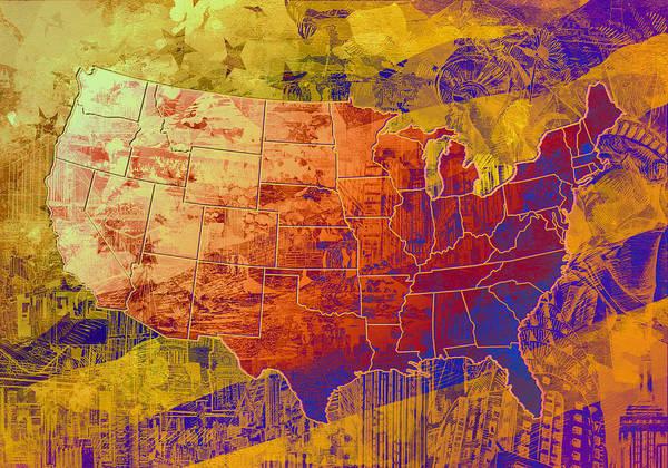 Vintage Chicago Painting - United States Flag Map Vintage 2 by Bekim Art