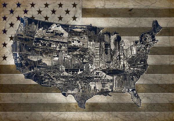 Vintage Chicago Painting - United States Flag Map Vintage 4 by Bekim Art