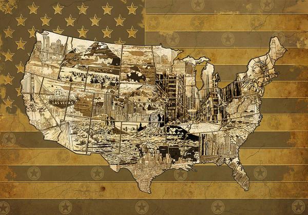 Vintage Chicago Painting - United States Flag Map Vintage by Bekim Art