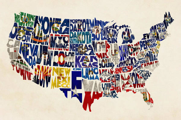 Wall Art - Painting - United States Flags Map by Inspirowl Design