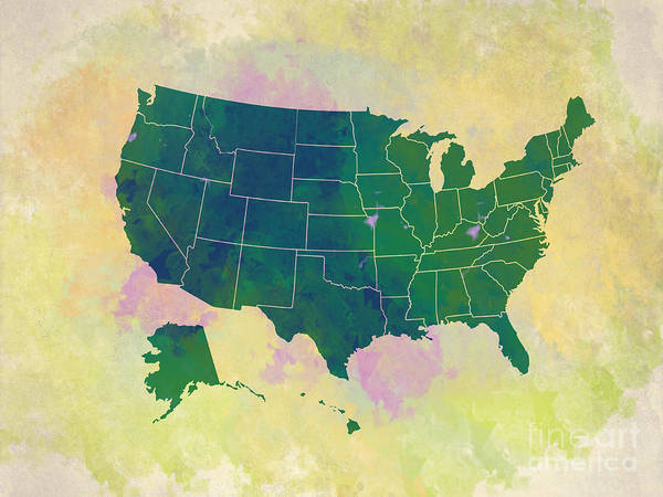 Digital Art - United States Map - Green And Watercolor by Paulette B Wright