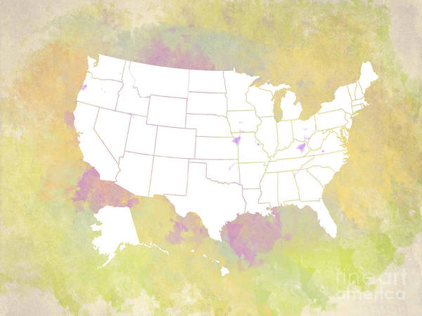 Digital Art - United States Map - White And Watercolor by Paulette B Wright