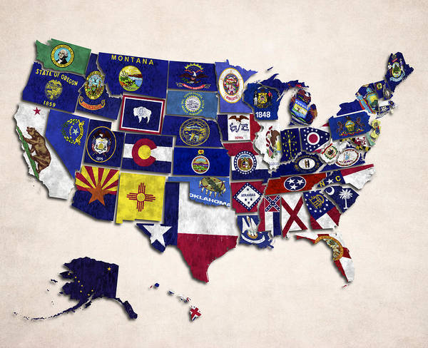 Utah Digital Art - United States Map With Fifty States by World Art Prints And Designs