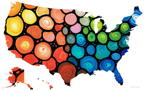 Painting - United States Of America Map 1 - Colorful Usa by Sharon Cummings