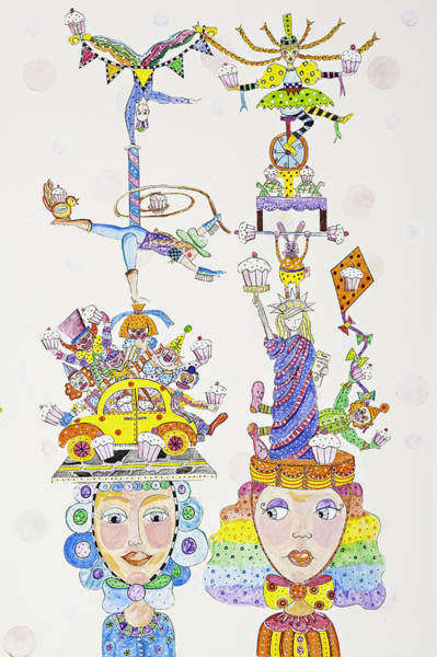 Circus Clown Painting - United States Of Cupcakes by Lynn Colwell