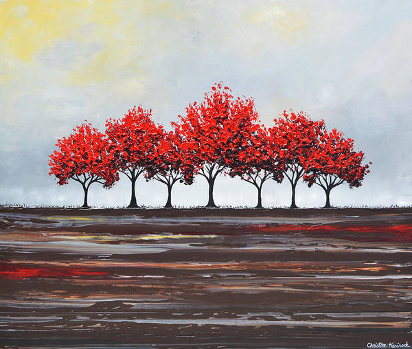 Wall Art - Painting - Unity - Red Trees by Christine Bell