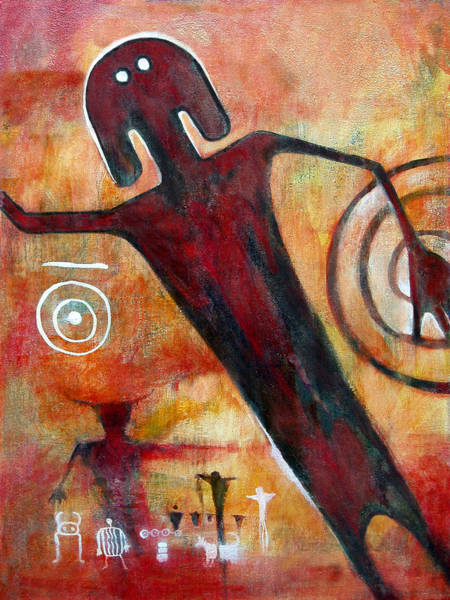 Non-figurative Wall Art - Painting - Universal Man Petroglyph by Derrick Higgins