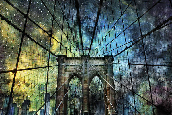 Universe And The Brooklyn Bridge Art Print
